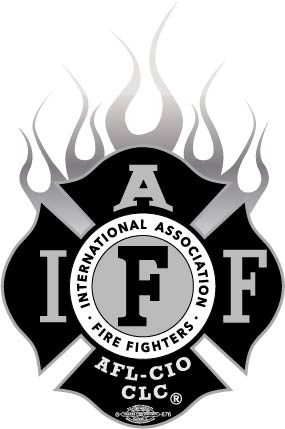 IAFF Flamed Silver-Black Decal