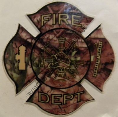 Camoflage Fire Department Maltese Cross Decal