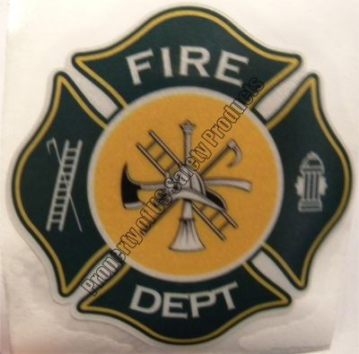 Green and Gold Fire Department Maltese Cross Decal