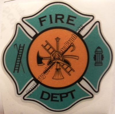 Light Green and Orange Fire Department Maltese Cross Decal