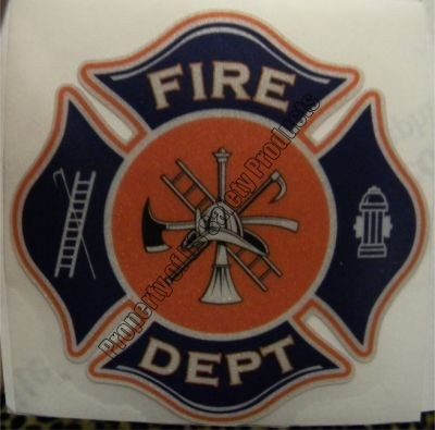 Navy and Orange Fire Department Maltese Cross Decal