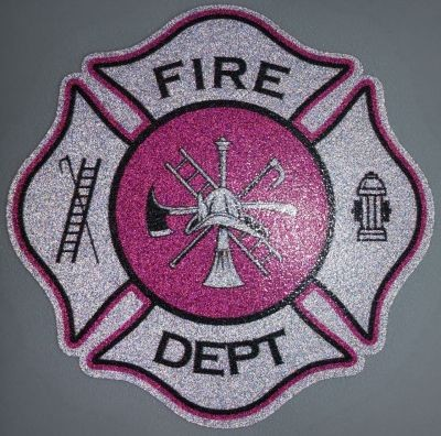 White and Pink Fire Department Scramble Maltese Decal