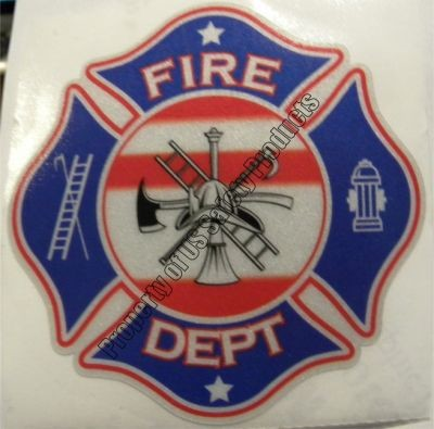 Red-White-Blue Fire Department Maltese Cross Decal